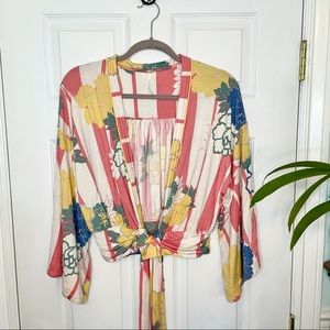 Free People Floral Deep V Neck Tie Top Pink Yellow